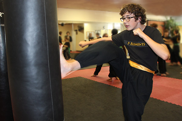 Yellow Sash Kicking at 5 Elements Martial Arts San Diego